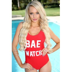 Costum de baie rosu intreg Bae Watch